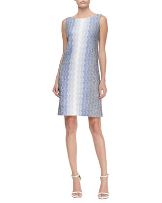 Vertical Degrade Zigzag Shift Dress, Marine Multi