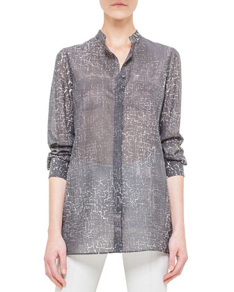 Broken Paint-Print Voile Blouse, Black