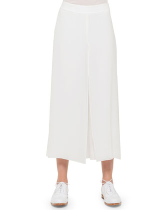 Georgette-Sleeve Linen Short Jacket, Scoop-Neck Bicolor Top & Overlay ...