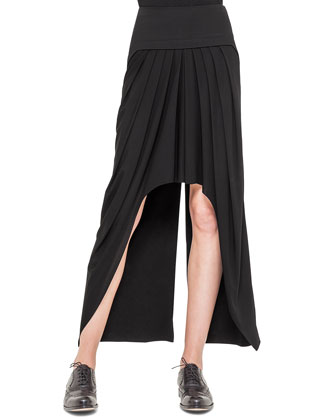Tulle-Inset Peekaboo Slit Top & Pleated High-Low Zip-Detail Skirt, Black