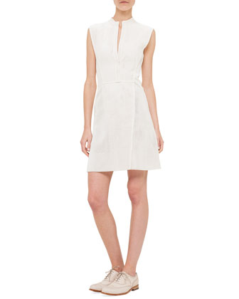 Mock-Neck Perforated Napa Leather A-Line Dress