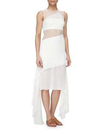 Rectangle-Paneled Tulle-Inset Dress, Calcite