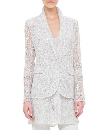 Broken Paint Embroidery Long Jacket, Scoop-Neck Silk Georgette Top & Napa ...