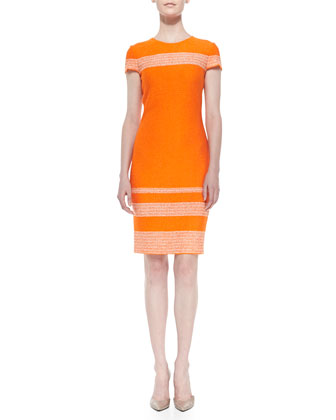 Micro Tweed Engineered Stripe Sheath Dress