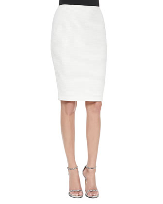 Punto Riso Knit Pencil Skirt, Cream