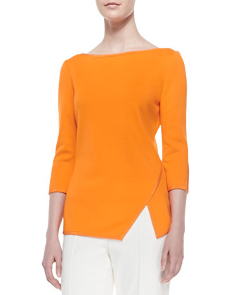 Milano Knit Bateau-Neck 3/4-Sleeve Top