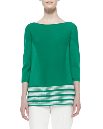 Engineered Texture Stripe Knit Top