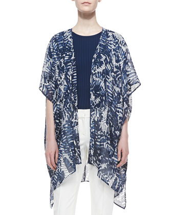 Large Scale Graphic Palm Print Cardigan, Ribbed Knit Short-Sleeve Shell & ...