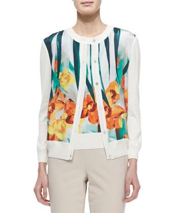 Cashmere-Blend Floral-Print Cardigan, Cream Multi