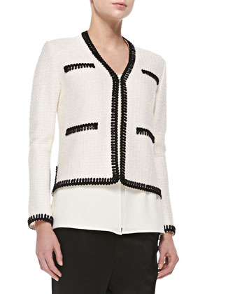 Novelty-Knit Eyelash-Trimmed Jacket, White/Black