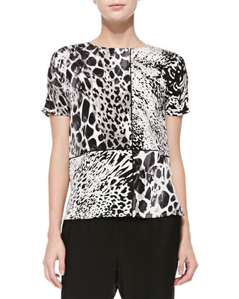 Animal-Print Asymmetric-Grid Blouse, Cream Multi