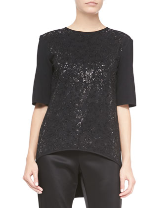 Shimmer Leopard-Print Neo Jersey Knit Blouse, Caviar Multi