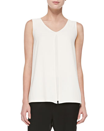 Luxe Crepe V-Neck Shell, Cream
