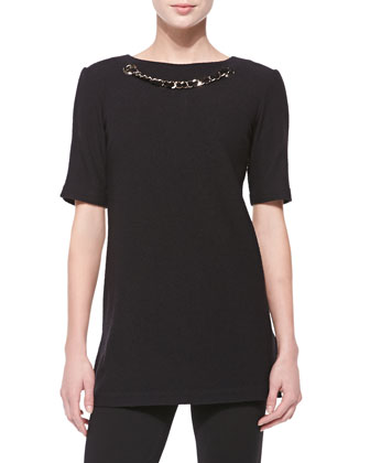 Chain-Detailed Crinkle Knit Jersey Top, Caviar