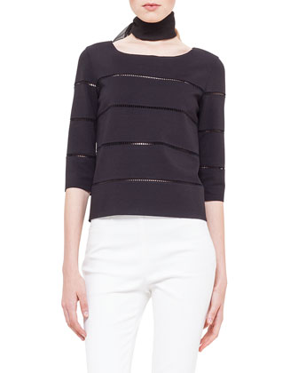 Hemstitch Boxy Jersey Sweater & Franca Side-Hemstitch Pants