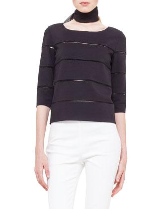 Hemstitch Boxy Jersey Sweater