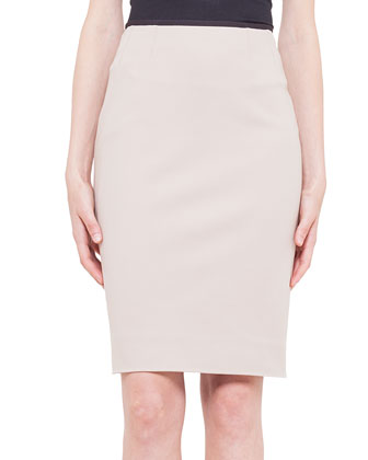 Contrast Waistband Techno Cotton Pencil Skirt