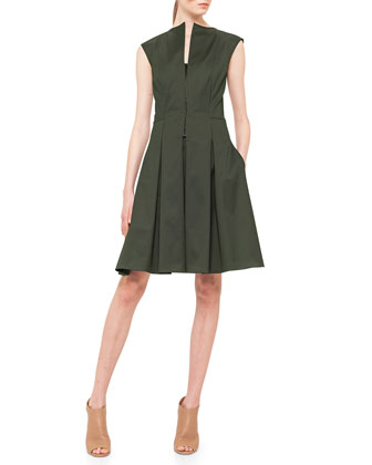 Half-Zip Box-Pleated Fit-And-Flare Dress