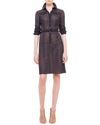 Punto-Lace Snap-Front Shirtdress, Noir