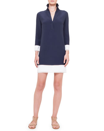 Contrast-Trimmed Crepe Shirtdress, Blue-Marine/Creme