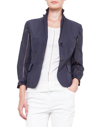 2-Button Hemstitch Jacket, Hemstitched Jersey Tank Top & Milton Full-Length ...