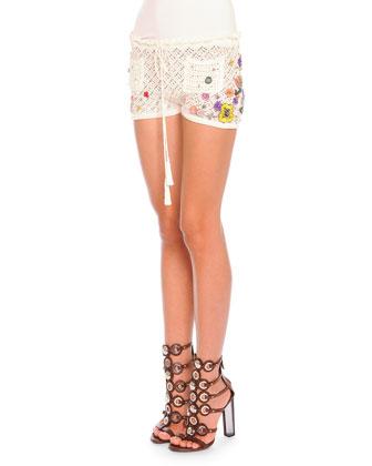 Poppy Rocks Embroidered Crochet Shorts