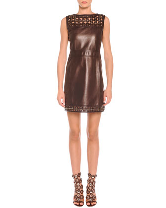 Laser-Cut Leather Sheath Dress
