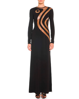 Silk Cady Gown with Swirly Sheer Insets