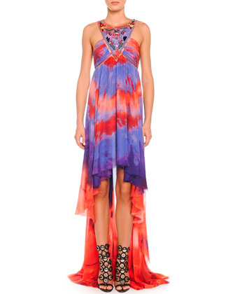 Tie-Dye Chiffon High-Low Halter Gown