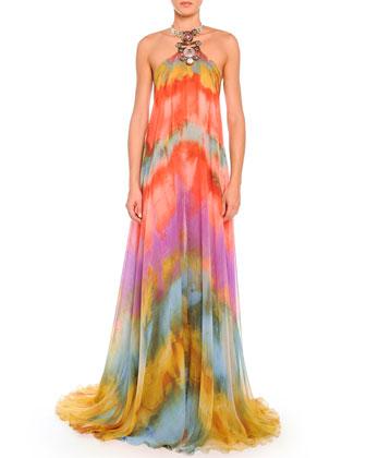 Tie-Dye Chiffon Halter Gown