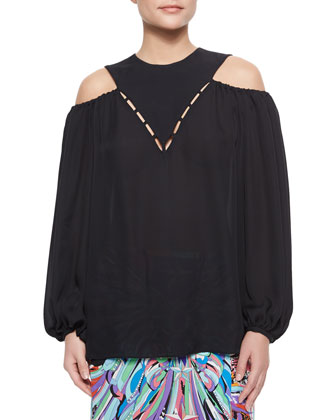 Blouson-Sleeve Cutout Top, Black
