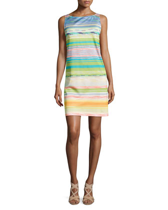 Mixed Broken-Stripe Shift Dress