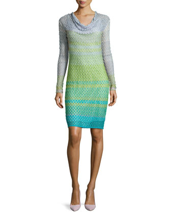 Loose-Knit Ombre Striped Dress, Green Multi