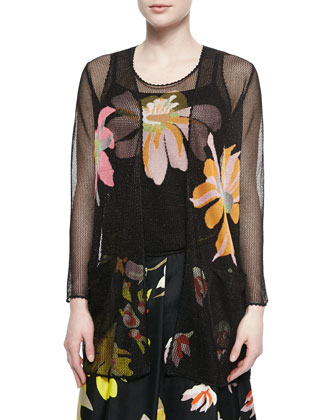 Open-Weave Cardigan and Tank with Intarsia Designs & Floral-Print Silk ...