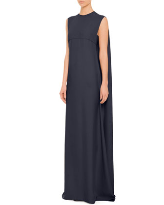 Cape-Back Empire Waist Gown, Navy