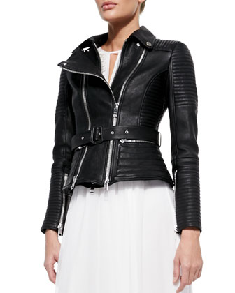 London Quilted Leather Biker Jacket, Black
