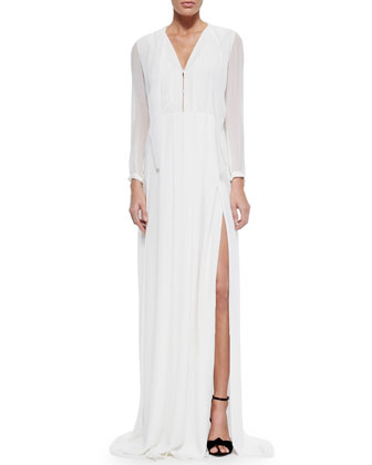 Box-Pleated Georgette Dress, Optic White