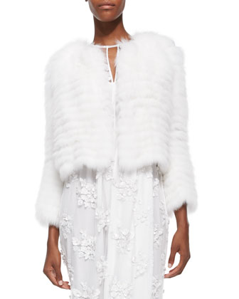 Patent Tab-Detailed Fur Jacket, White