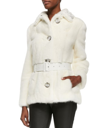 Bead-Embellished Mink Fur Jacket, White