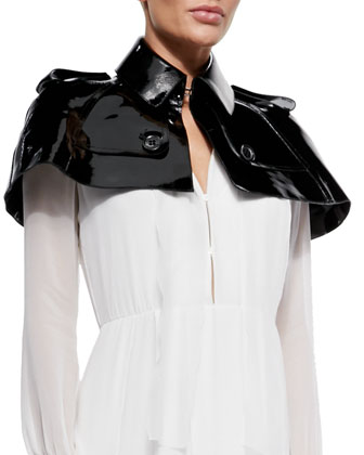 Patent Leather Capelet & Box-Pleated Georgette Dress