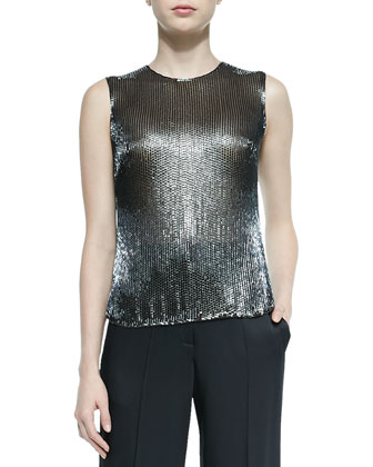 Sleeveless Jewel-Neck Sequined Top