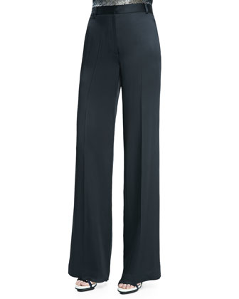 Wide-Leg Trousers W/ Satin Back