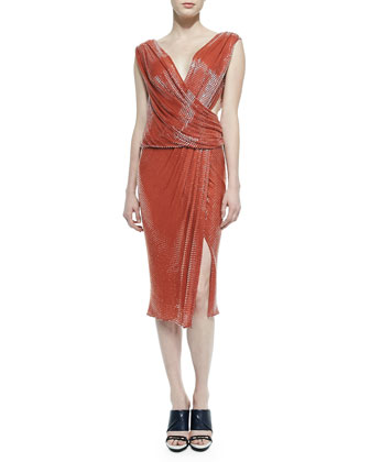 Draped Sequin Crossover Dress