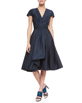 Short-Sleeve Silk Flounce Dress
