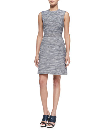Sleeveless Denim Tweed Sheath Dress