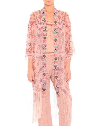 Zigzag-Print Beaded Chiffon Jacket, Lace-Trim Beaded Camisole & Arrow-Cut ...