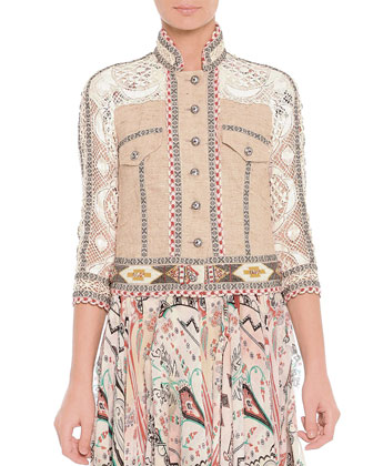 Lace Mixed-Fabric Beaded Jacket