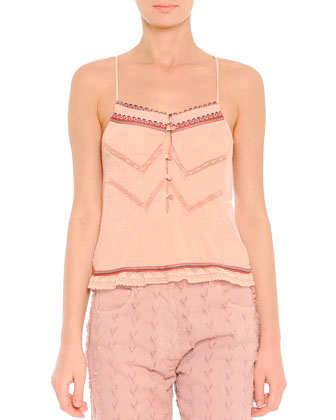 Lace-Trim Beaded Camisole, Pink