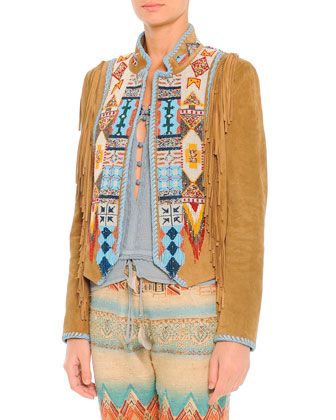 Suede Fringe Jacket with Geometric Beading