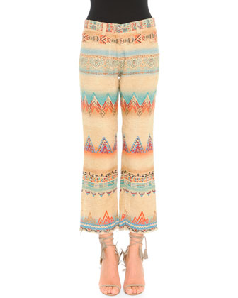 Santa Fe Printed Linen-Blend Cropped Pants